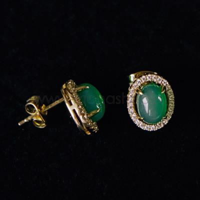 Серьги Монпасье зеленые с австрийскими кристаллами