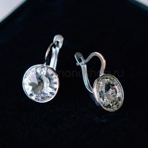 Серьги Чародейка с белыми кристаллами Сваровски, покрытие - родий