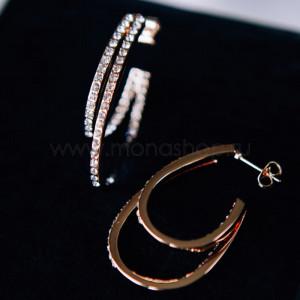 Серьги «Золотые петли» с белыми кристаллами Сваровски