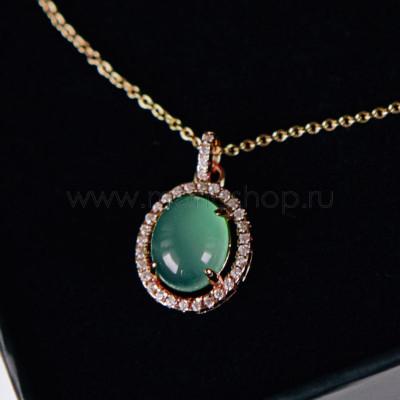 Кулон Монпасье зеленый с австрийскими кристаллами