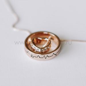 Кулон-кольцо Биение сердца с белыми кристаллами Сваровски