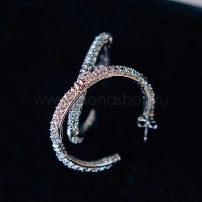 Серьги «Серебряные кольца» с белыми кристаллами Сваровски