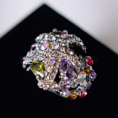 Кольцо «Морская звезда» с разноцветными кристаллами Swarovski