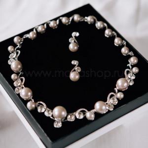 Комплект «Великолепие» жемчужный серый с белыми кристаллами