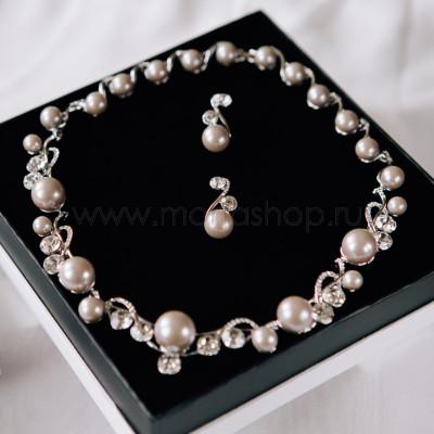 Комплект Великолепие жемчужный серый с белыми кристаллами