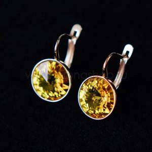 Серьги «Чародейка» с желтыми кристаллами Swarovski