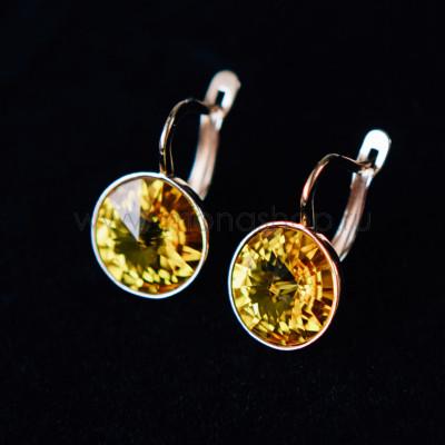 Серьги Чародейка с желтыми кристаллами Swarovski