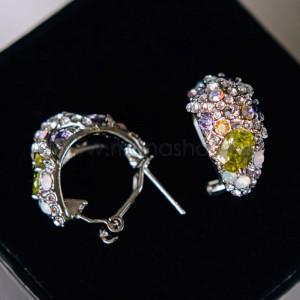 Серьги «Морская звезда» с разноцветными кристаллами Swarovski