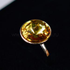 Кольцо «Чародейка» с желтым кристаллом Swarovski
