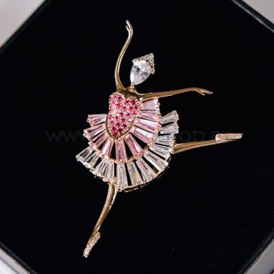 Брошь «Балерина» с розовыми фианитами и кристаллами