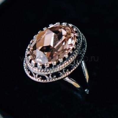 Кольцо Винтаж с розовым кристаллом Swarovski