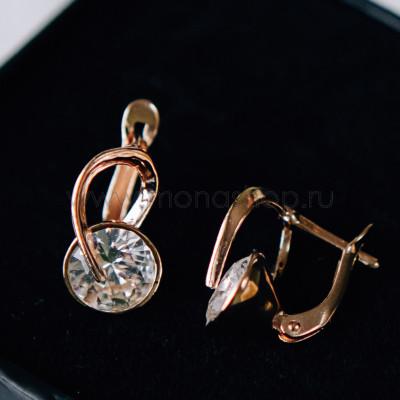 Серьги «Золотые подковы» с белыми кристаллами Swarovski