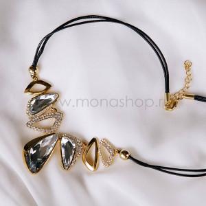 Колье на шнурке «Элегант» с белыми кристаллами Сваровски