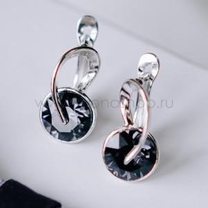 Серьги «Золотые подковы» с черными кристаллами Swarovski
