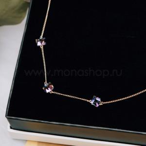 Колье Миражи с фиолетовыми кристаллами-хамелеонами Swarovski