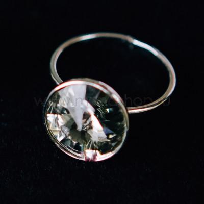 Кольцо «Чародейка» с серым кристаллом Swarovski