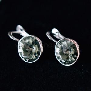 Серьги «Чародейка» с серыми кристаллами Swarovski