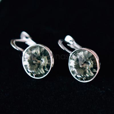 Серьги Чародейка с серыми кристаллами Swarovski