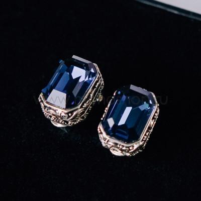 Серьги «Магия камня» с синими кристаллами Сваровски