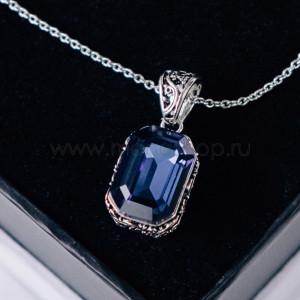 Кулон «Магия камня» с синим кристаллом Сваровски