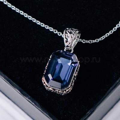 Кулон Магия камня с синим кристаллом Сваровски