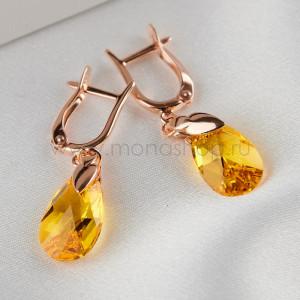 Серьги Солнечный топаз с желтыми кристаллами Сваровски