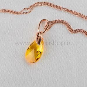 Кулон Солнечный топаз с желтым кристаллом Сваровски