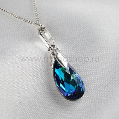 Кулон Хрустальные капли с синим хамелеоном Сваровски, покрытие - родий