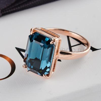 Кольцо Сапфировый цвет с прямоугольным камнем Swarovski