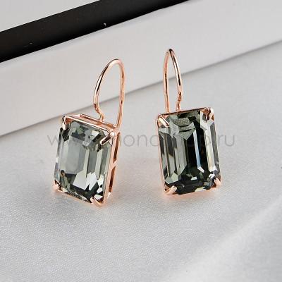 Серьги Черный бриллиант с прямоугольными камнями Swarovski
