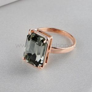 Кольцо Черный бриллиант с прямоугольным камнем Swarovski