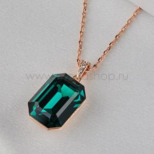 Кулон Изумрудный цвет с зеленым камнем Сваровски