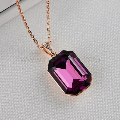 Кулон Аметистовый цвет с фиолетовым камнем Сваровски