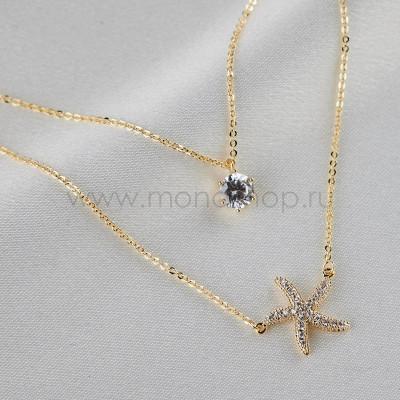 Колье двойное Море с кристаллом и морской звездой