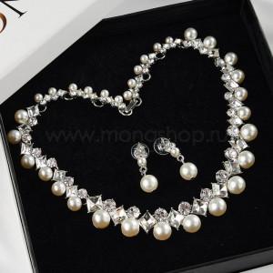Комплект Мэрилин с белым жемчугом и кристаллами