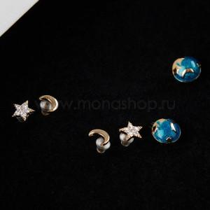Серьги Ночное небо с кристаллами и эмалью из трех пар