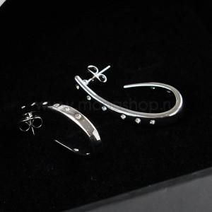 Серьги-кольца Серебряный виток с кристаллами