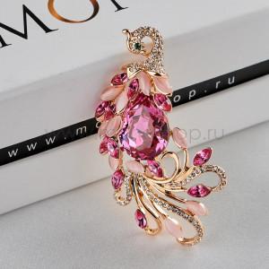 Брошь Райская птица с розовыми кристаллами Сваровски