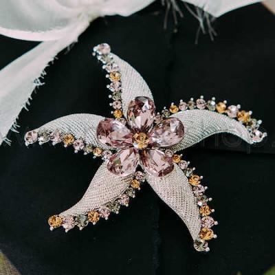 Брошь «Морская звезда» с розовыми кристаллами Сваровски