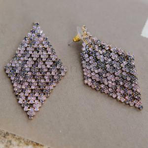 Серьги-ромбы Звездная ночь с фиолетовыми кристаллами Swarovski