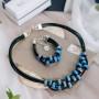 Браслет «Морская рябь» с синей глазурью
