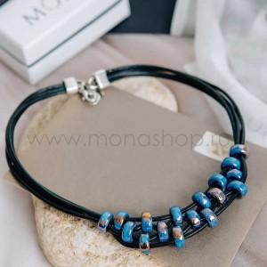 Колье «Морская рябь» с синей глазурью