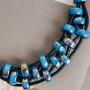 Колье Морская рябь с синей глазурью