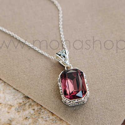 Кулон Магия камня с фиолетовым кристаллом Сваровски