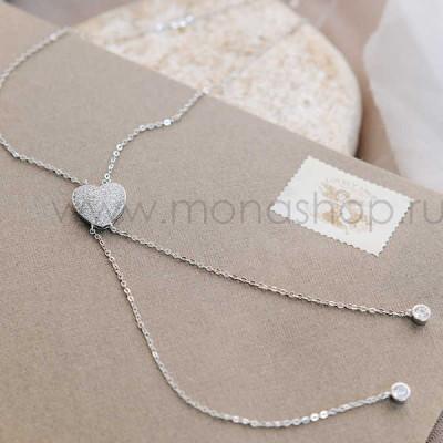 Кулон «Сердце» с австрийскими кристаллами и подвесками