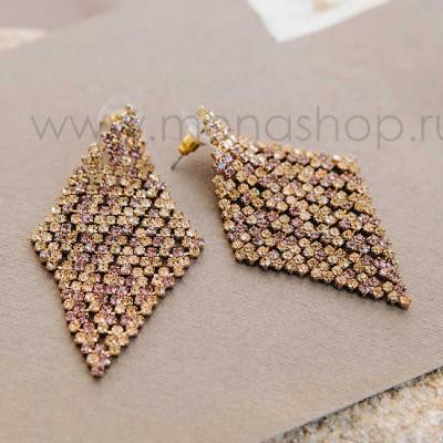 Серьги-ромбы Лучи солнца с кристаллами Swarovski цвета шампань