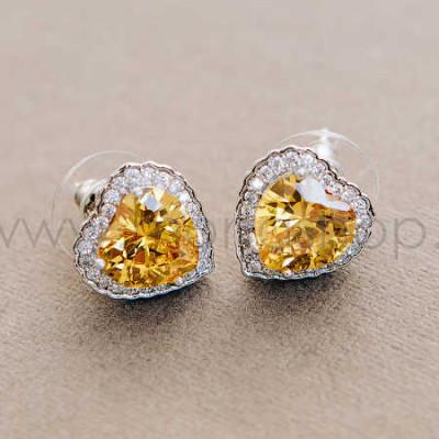 Серьги «Золотое сердце» с желтыми циркониями