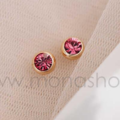 Серьги «Презент» с розовыми кристаллами Сваровски