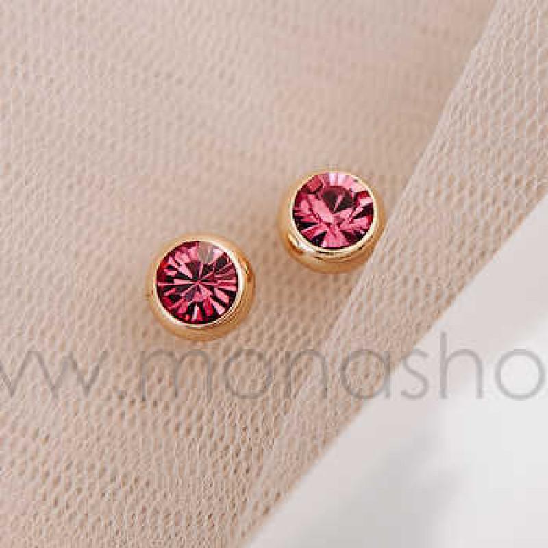 Серьги «Презент» с розовыми кристаллами Сваровски от 700 руб