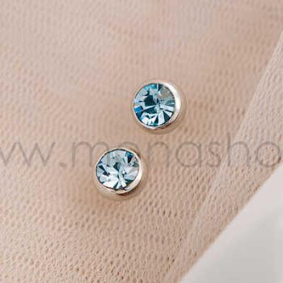 Серьги Презент с голубыми кристаллами Сваровски